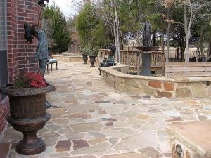 Stone patio and stone retaining walls