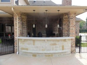 Beautifully designed stone bar outside