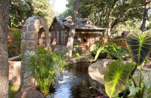 backyard water fountain and pond