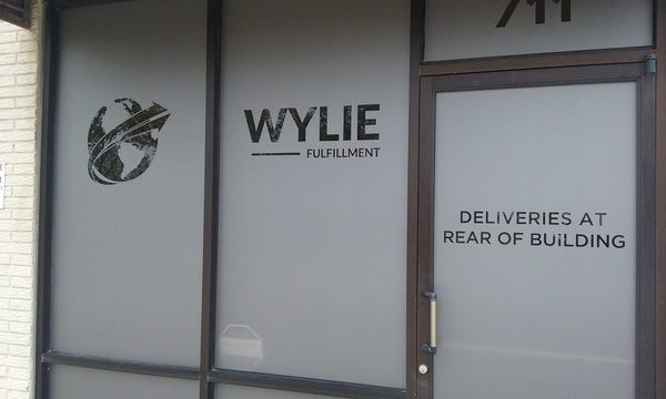 Vinyl window decals for Wylie fulfillment company