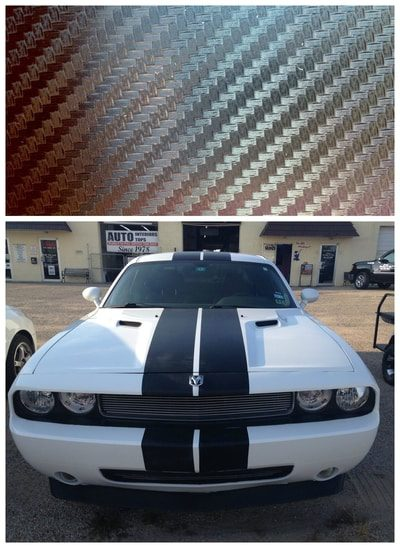 White dodge car with racing stripe decals