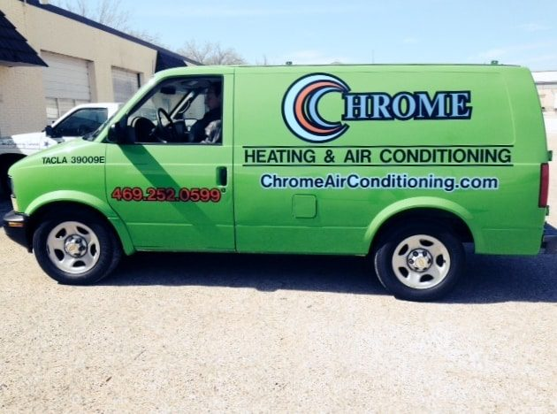 Green work van with decals for heating and air conditioning company