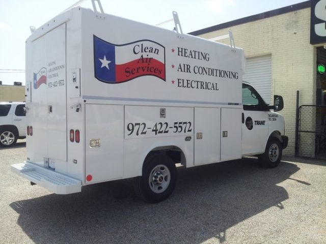 White work truck with vinyl decals for Trane heating and air conditioning company