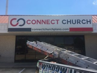Storefront sign for Connect Church