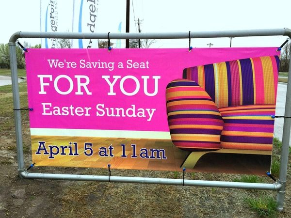 Vibrant banner advertising an Easter Sunday service