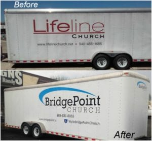 Before and after car decal for BridgePoint Church