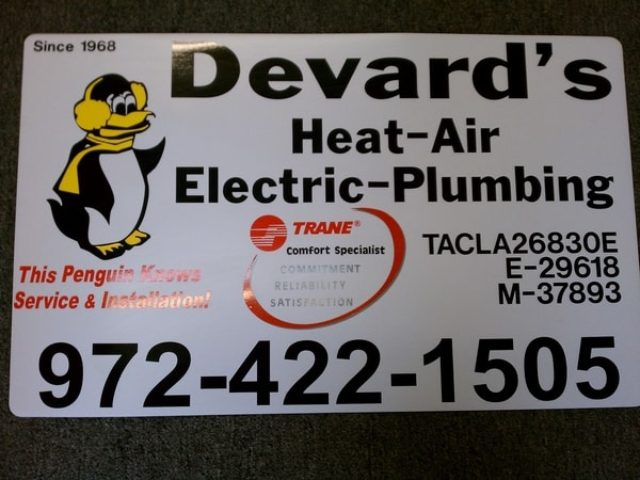 Car magnet with picture of a penguin with ear muffs for a plumbing and ac company