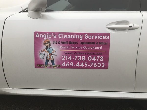 Car magnet for Angie's Cleaning Services on a white vehicle