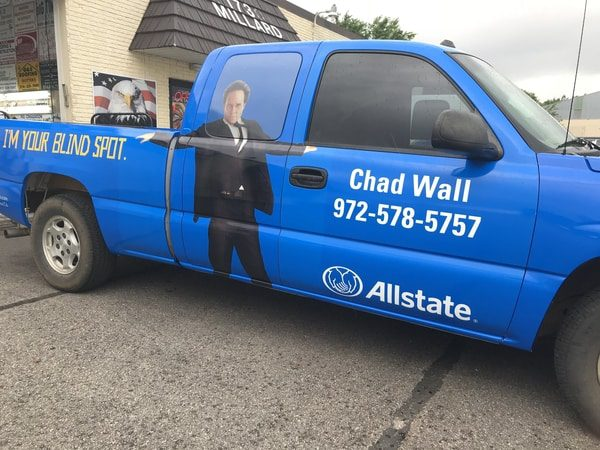 Blue work truck with vinyl wrap for Allstate insurance agency