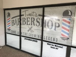 Vintage looking vinyl window decals for barbershop