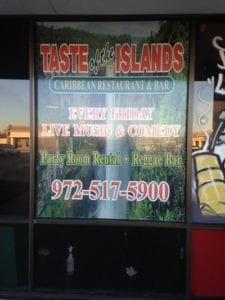Vinyl window decals for Taste of the Islands Caribbean Restaurant & Bar