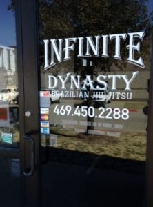 Vinyl window decals for Infinite Dynasty Brazillian Jiu Jitsu business