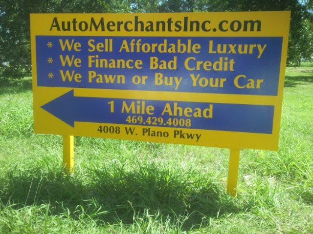 Outdoor sign for Plano Auto Merchant