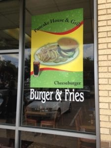 Vinyl window decal for Pancake House & Grill restaurant