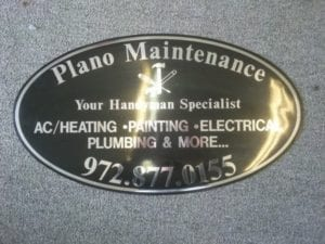 Black vinyl car magnet with silver lettering for Plano Maintenance company