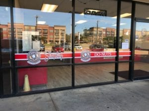 Vinyl window decals for Shipley Do-nuts donut shop