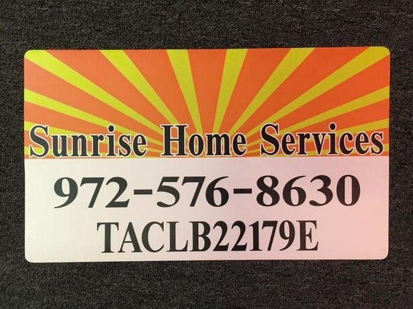 Car magnet with yellow and orange sun burst rays for home services company