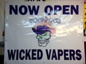 White sign for vape company