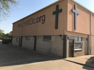 Church storefront sign for f3c.org