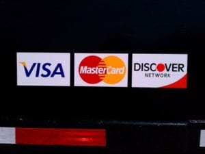 Credit card sticker decals for a business