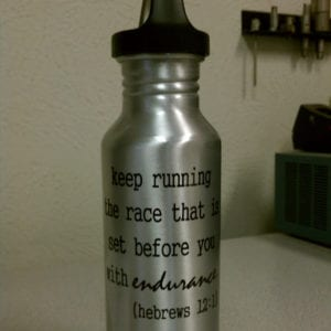 Stainless steel water bottle with bible verse decal