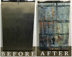 Before and after photo of mini fridge with large rusty barbed wire decal