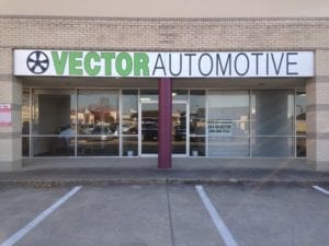 Storefront sign for Vector Automotive