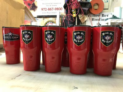 Red Yeti cups with business decals