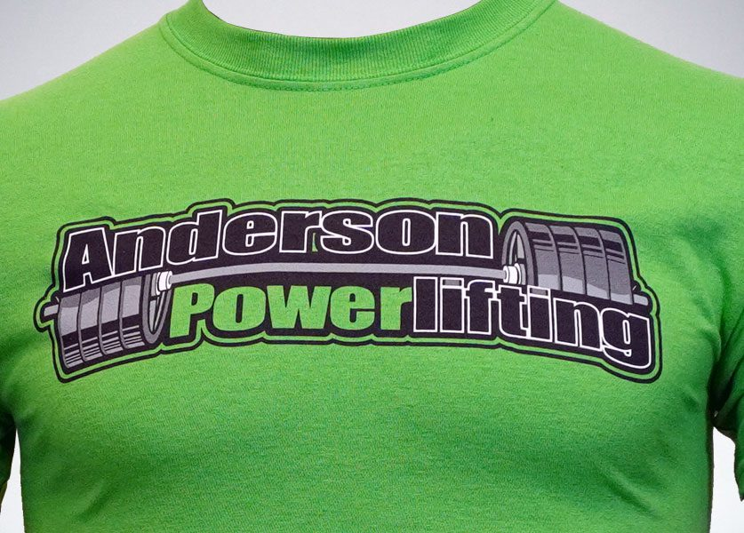 close up of anderson powerlifting lime green t-shirt