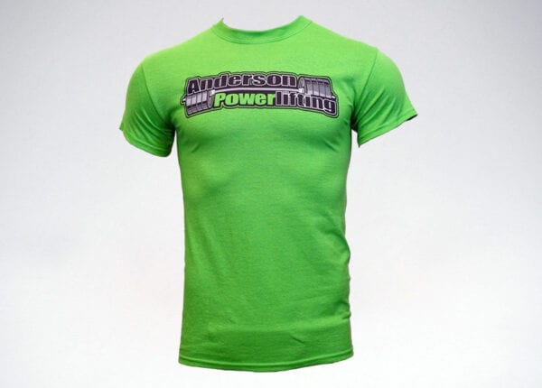 anderson powerlifting lime green t-shirt