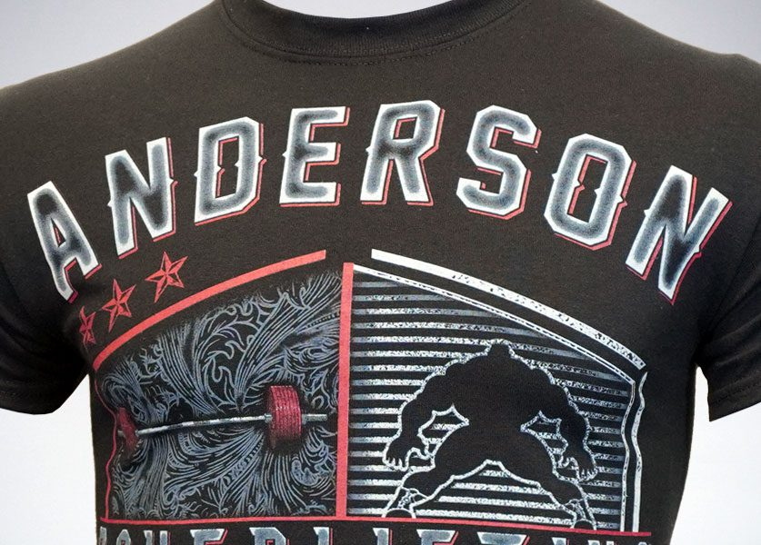 close up of anderson powerlifting shield tshirt