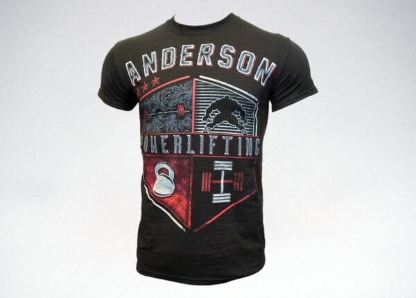 anderson powerlifting shield tshirt