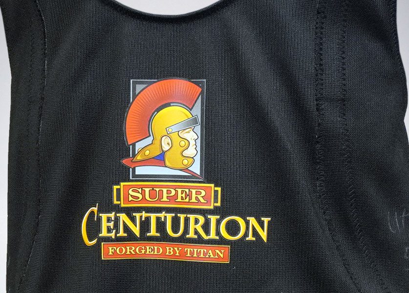 close up of super centurion squat suit