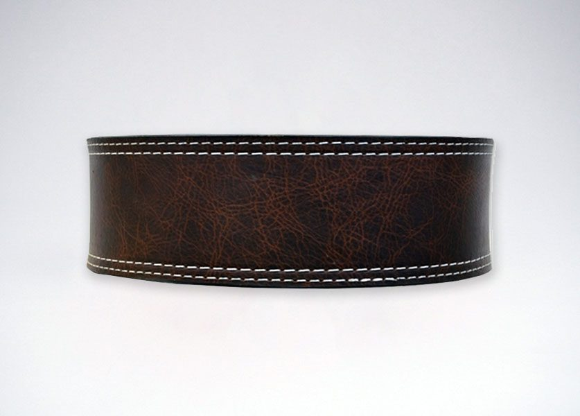 back of longhorn oiled buffalo lever belt