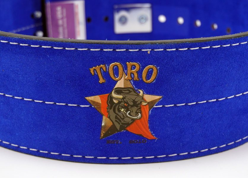 close up of blue toro lever belt logo