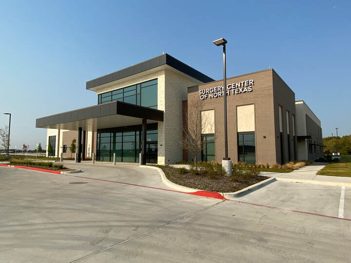 Parking lot view of a new emergency room building