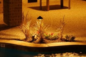 little flower bed next to a pool with lighting