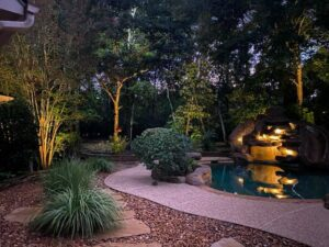 backyard with pool and plants lit up with outdoor lights