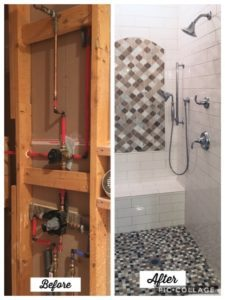 before and after image of a shower remodel