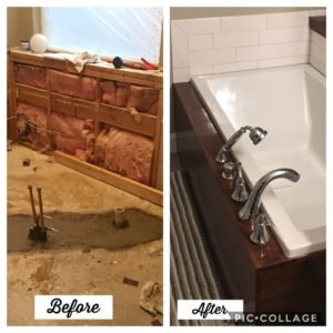 before and after image of a bath tub remodel