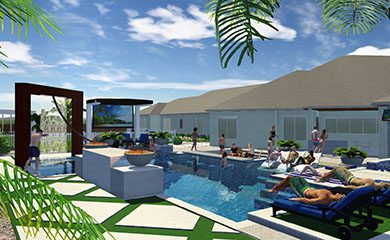 3d concept image of a pool and house