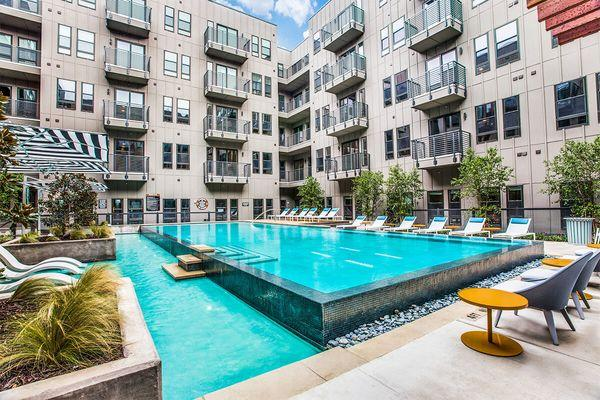 A pool at a large apartment complex