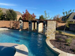 stone columns with water features