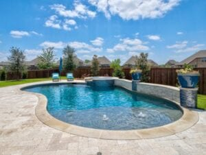 pool with stone walls