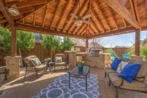 outdoor kitchen with large gazebo