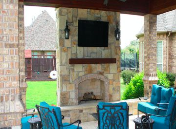 image of a stone outdoor fireplace