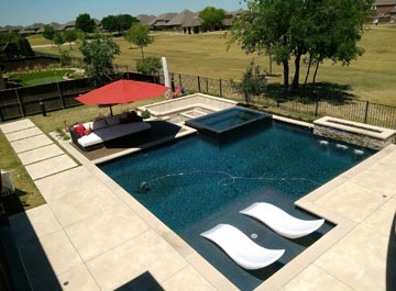 aerial of a residential pool