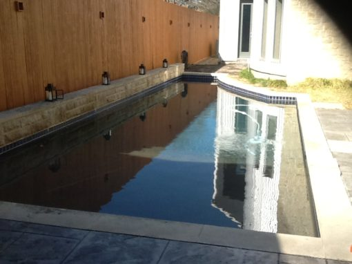Before photo of a dirty rectangular pool