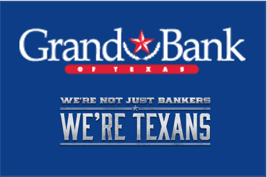 Grand Bank of Texas logo on a blue square