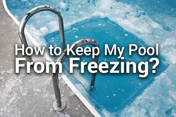 A frozen swimming pool with the words, how to keep my pool from freezing.